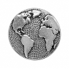 Button Round Earth Antique Silver